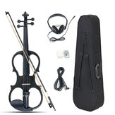 4/4 Electric Violin Full Size Basswood with Connecting Line Earphone & Case for Beginners