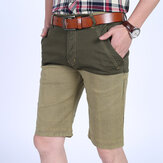 Mens Cotton Splicing Color Blocking Knee-Length Shorts