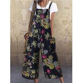 女性ヴィンテージノースリーブボタン花側ポケットオーバーオールゆるい印刷ジャンプスーツ