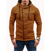Men's Casual Zipper Decoration Fashion Pockets Drawstring Long Sleeve Hooded Sweatshirt