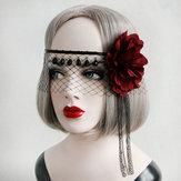 Sexy Mask Crystal Black Lace Gaza Red Flower Wstążki Maski Halloween dla kobiet