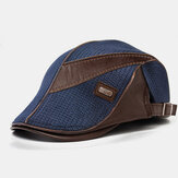 Banggood Design Men Knit Leather Patchwork Color Casual Personality Forward Hat Baret Hat
