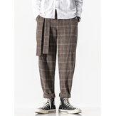 Heren geruite vintage rits vliegen gordel casual broek