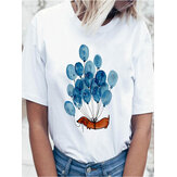 Cute Cartoon Dog & Balloon ronde hals Vrouwen Witte T-shirts met korte mouwen