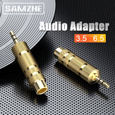 SAMZHE Audio Adapter 3.5mm Male to 6.5mm Female Aux Jack Mic Stereo Earphone Headphone Adapter Connector for Car Speaker Laptops Phones