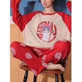 Mujeres estilo chino divertido Gato estampado de manga larga mangas raglán Top cintura elástica Inicio Pantalones Conjunto de pijama
