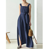 Solid Color Cotton Lace-Up Split Hem Sleeveless Casual Maxi Dress with Side Pockets