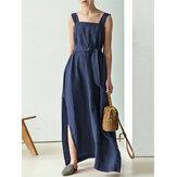 Jednokolorowa, sznurowana, bawełniana sukienka maxi bez rękawów z bocznymi kieszeniami