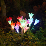 4 LED Solar Power Lily Flower Stake Lights Outdoor Garden Path Luminous Lamps