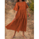 Women Solid Color Half Sleeve Pleated Casual Square Neck Maxi Dress
