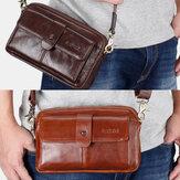 Mænd Ægte læder Multi-funktion Retro skulder taske Talje taske Cross Body Bag