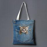 Women Canvas Cat Dog Inside Jeans Pattern Large Capacity School Bag Shoulder Bag Handbag Tote