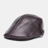 Mannen echt leer effen kleur casual universele buiten vooruit hoed baret hoed