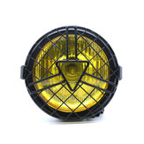 12V 35W 6.3inch Universal Motorcycle Headlights Refit General Head Lamp Grill Yellow/White Cover Retro Vintage Bracket