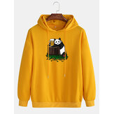 Herenkatoen Panda Print Drop Shoulder Casual hoodies met trekkoord
