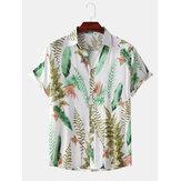 الرجال النباتات الاستوائية يترك طباعة رفض طوق قمصان هاواي بيتش قصيرة الأكمام