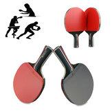 1 para rakietka do tenisa stołowego drewno gumowe długi / krótki uchwyt wiosło na świeżym powietrzu trening sportowy rakietka do ping-ponga z 3 piłeczkami