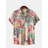 Hommes Floral Print Turn Down Collar Hawaii Beach Fashion Chemises à manches courtes