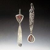 Vintage Botswana Achat Ohrringe Asymmetrische versilberte Perle Anhänger Ohrringe