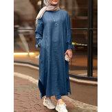 Women Solid Side Pockets Denim Casual Loose Kaftan Robe Split Shirt Maxi Dress