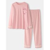 Conjuntos de pijama de algodão feminino com estampa de rosto com estampa de ombro e manga listrada de algodão