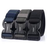 TUSHI 125CM Fibbia magnetica per il tempo libero Tela traspirante Vita Cintura Sblocco rapido Cintura Tattico elastico da uomo Cintura