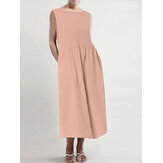Women Solid Sleeveless O-neck Side Pocket Maxi Casual Dress