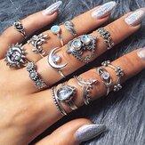 14 peças Rhinestone Ring Kit Para Mulheres