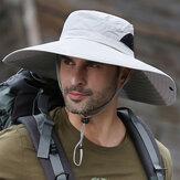 Uomo a tesa larga 14 cm all'aperto TORCIA arrampicata UV protezione parasole impermeabile traspirante cappello secchio