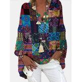 Kadınlar Kabile Baskı Renkli Blok V Yaka Etnik Stil Bluzlar