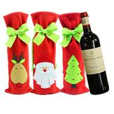 Noel Baba Şarap Şişesi Kapağı Çanta Noel Kırmızı Şarap Çantalar Akşam Yemeği Partisi Dekorasyonu