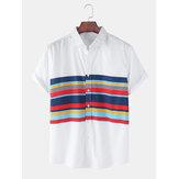 Хлопок Мужская полоса цвета блока с коротким рукавом воротник с лацканами дышащие рубашки