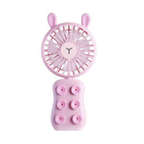 Well Star WT-9101 Little Bear/Rabbit Mini USB Fan Phone Holder with Colorful Light Mode Six silicone suction cups Handheld Small Fan Portable Air Cooler For Home Office Outdoors