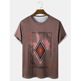 Mens Poker Element Graphic Round Neck Casual Short Sleeve T-Shirts