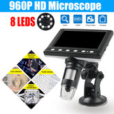 1000X 4.3 inch Portable Digital Microscope Magnifier Camera With 8LED Lights