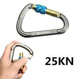 INDA 25KN 5600lbs Aluminum D Shape Carabiner Screw Locking Caving Climbing Key Lock Carabiner Buckle