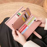 المرأة 21 بطاقة فتحات محفظة محفظة طويلة صلبة هاتف حقيبة