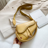 Women Irregular Shape Solid Saddle Bag Shoulder Bag Crossbody Bag