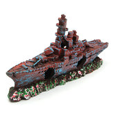Aquarium Destroyer Navy War Boat Ship Relitto Fish Tank Cave Decorazioni Ornament