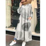 Femmes imprimé léopard col rond sied poche lâche à manches longues Robe caftan chemise robes