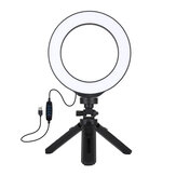 PULUZ PKT3059B 6.2 inch 6500K-3200K LED Ring Light for Tik Tok Youtube Live Streaming Vlogging Selfie 3 Modes Dimmable Lamp with 16.5 cm Tripod