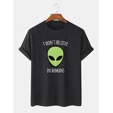 Mens 100% Algodão Alien Print Crew Neck Camisetas de manga curta
