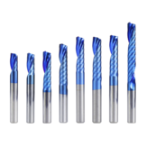 Drillpro 6 mm Shank 1 Sáo xoắn End Mill Mill End Mill Blue Nano Lớp phủ CNC Router Bit Single Flute End Mill phay