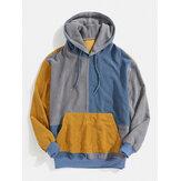 Sudaderas con capucha de pana de manga larga con patchwork para hombre Diseño con bolsillo de canguro