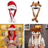 クリスマス帽子Ledライトムービングイヤーかわいい鹿のおもちゃ帽子エアバッグサンタクロースキャップクリスマスギフトキャップ子供ぬいぐるみクリスマスLedライトキャップ