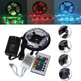 5M SMD 3528 300 Niet Waterdicht LED RGB Strip Flexibel Licht 24 Sleutel IR Afstandsbediening + DC Adapter DC12V