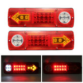 2PCS 12V LED Trailer Truck Rear Tail Brake Stop Turn Light Indicator Reverse Lamp