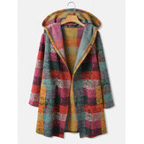 Frauen Colorful Plaid Open Front Doppeltasche Casual Hooded Cardigan Coats