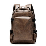 Men Business PU Leather Solid Backpack Casual Computer Bag