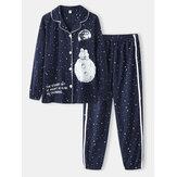 Γυναίκες Allover Starry Sky Σχήμα εκτύπωσης Σετ πιτζάμες με μανσέτες βαμβακερό Revere Collar